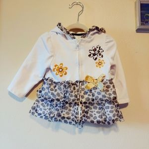 Infant Zip up tiered leopard print hooded sweater